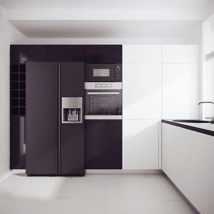 Projekt nowoczesnej biało-czarnej kuchni - meble na zamówienie MBVision