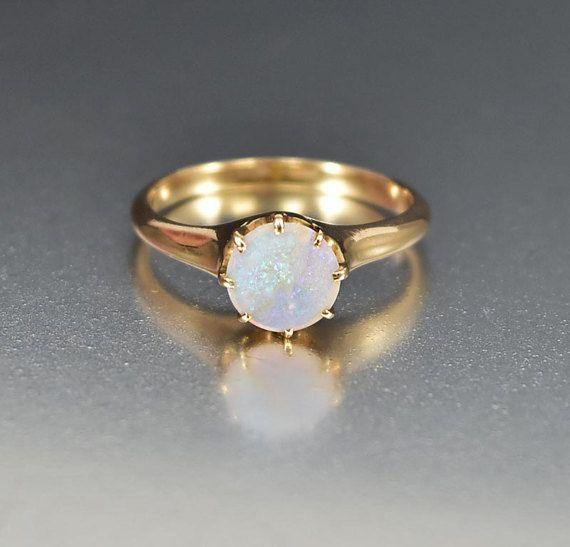 SOLD Edwardian Opal Ring Opal Engagement Ring 14K Gold