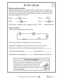 Parts of an electrical circuit diagram - Worksheets & Activities | GreatSchools