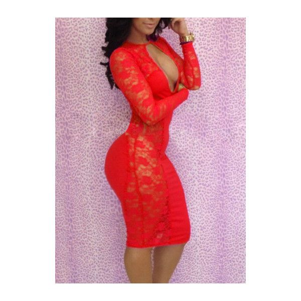Rotita Sexy Red Keyhole Lace Bodycon Club Dress ($16) ❤ liked on Polyvore featuring dresses, red, lace cocktail dress, sexy bodycon dresses, red lace cocktail dress, red bodycon dress and long sleeve lace dress