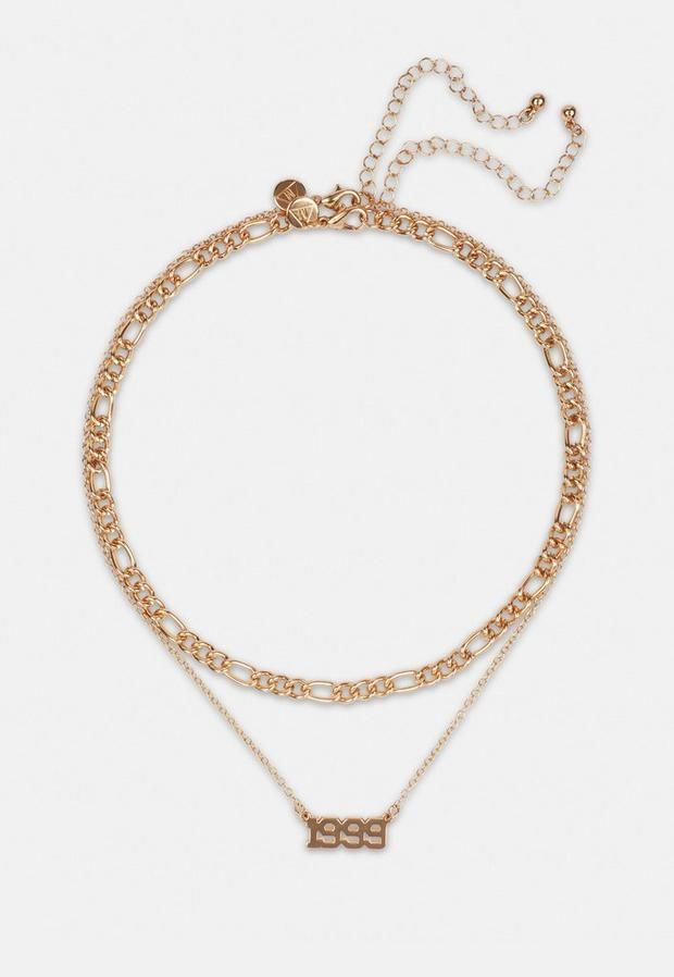 Gold Look 1999 Birth Year Layered Necklace In 2021 Layered Necklaces Necklace Gold