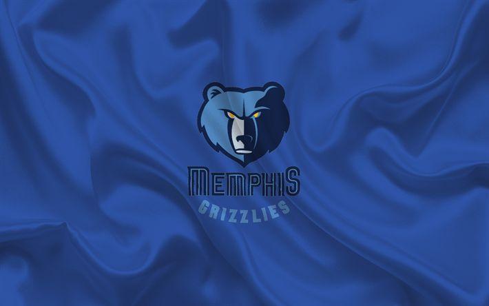 Scarica sfondi Memphis Grizzlies, Basket club, NBA, Memphis, Tennessee, USA, basket, emblema, logo, di seta blu
