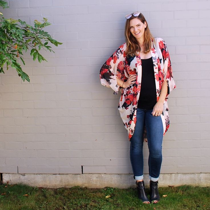 Everyday style featuring Sportsgirl kimono, Portmans singlet, Jeanswest maternity jeans and Alias Mae boots  #pregnancystyle #secondtrimester