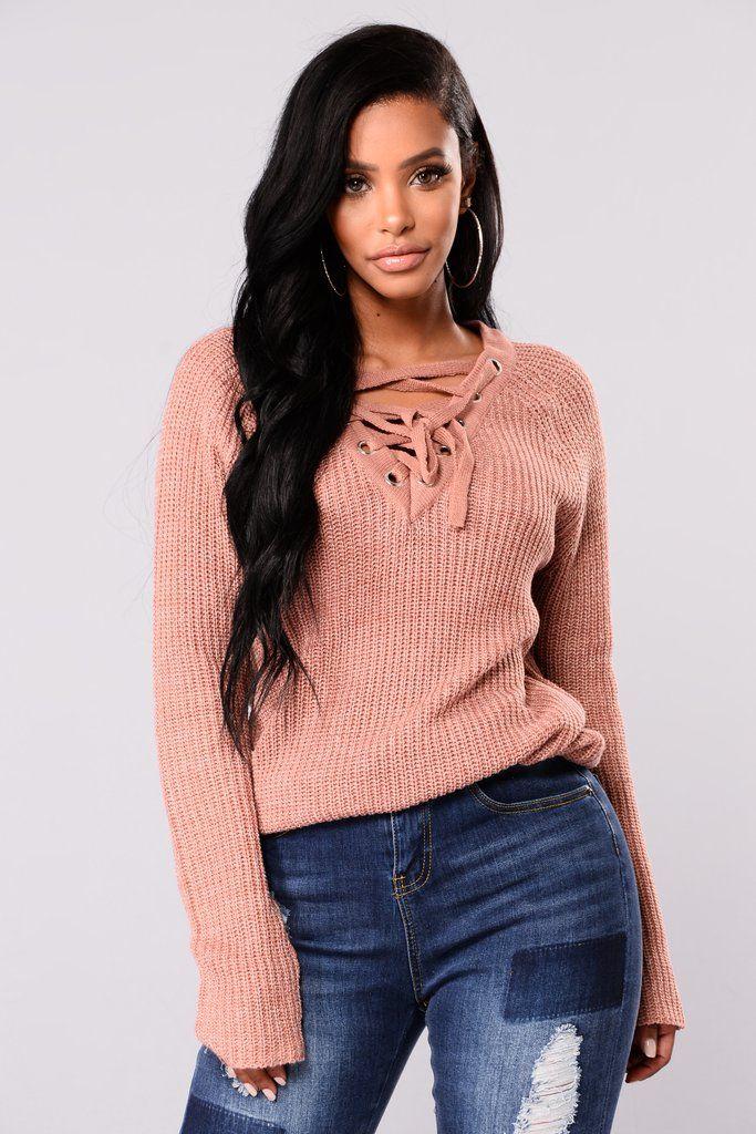 Emma Rose Lace Up Sweater - Mauve
