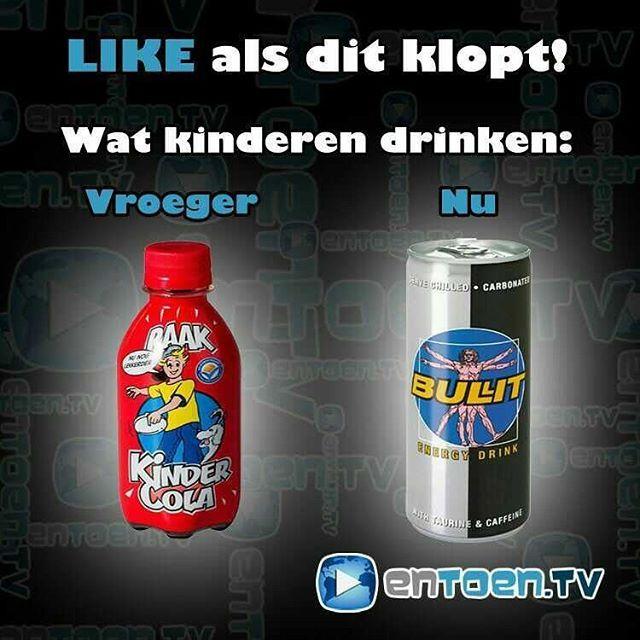 Vroeger Kindercola -> nu energiedrinks!  #jeugdsentiment #nostalgie #vroeger #kinderen #drinken #kindercola #energydrinks