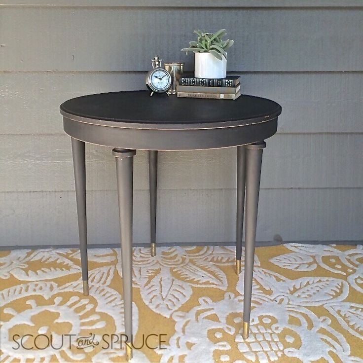 Sleek Tall Table.  Painted in Lamp Black by General Finishes Milk Paint.  Would make a great entry hallway table!