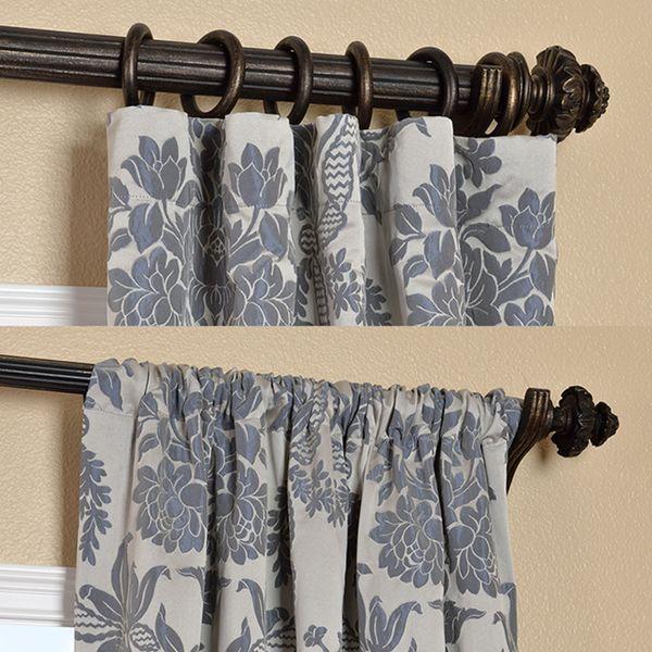 Magdelena Silver Blue Faux Silk Jacquard Curtains