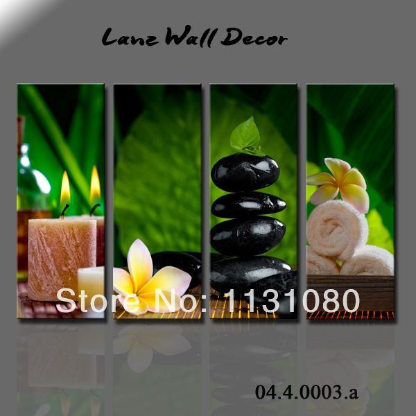 Wothout wooden frame canvas painting spa zen stone bamboo - Decoracion zen spa ...