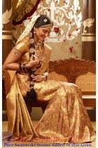 Vivaha Branded Anushka Golden colour Wedding Silk Saree VBBS100001