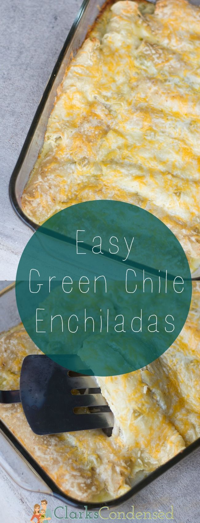These are a favorite in my family! Easy Green Chile Chicken Enchiladas