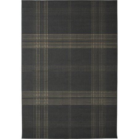 Broadway Plaid Power Loomed Area Rug, Grey/Ivory, Gray
