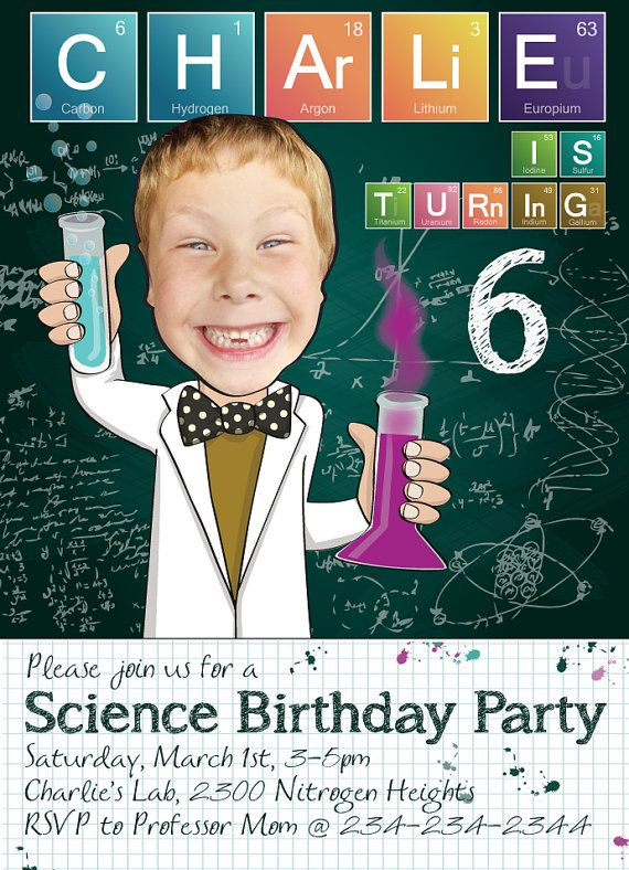 A personalized science party invitation, in which the birthday childs face is clipped out from their photo and superimposed on a cute cartoony