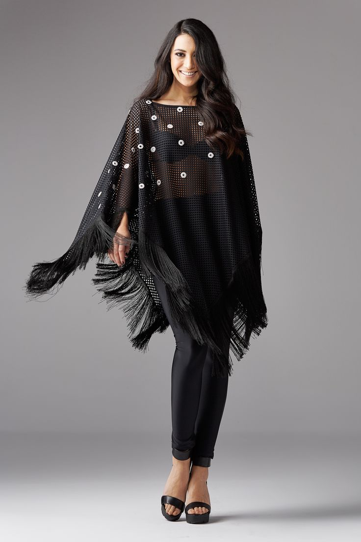 Boho poncho with fringes