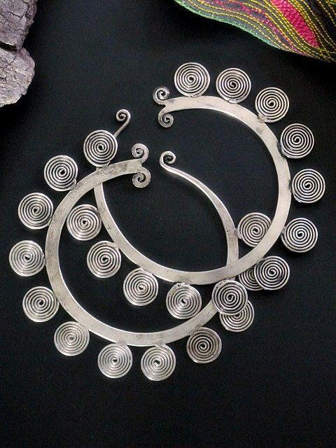 Hmong Tribal Jewelry Gauged Spiral Hoop Earrings