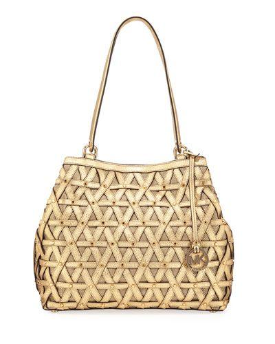 7d595bd0da91 MICHAEL MICHAEL KORS BROOKLYN XL METALLIC SHOULDER BAG, GOLD. # michaelmichaelkors #bags #shoulder bags #leather #canvas #lining #metallic #