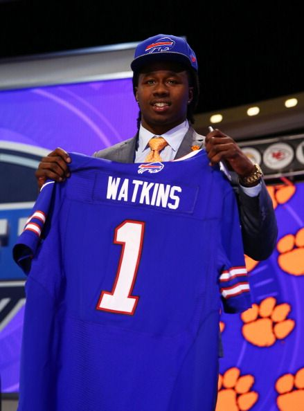 Sammy Watkins of the Clemson Tigers poses with a jersey after he was picked #4 overall by the Buffalo Bills during the first round of the 2014 NFL Draft at Radio City Music Hall on May 8, 2014 in New York City