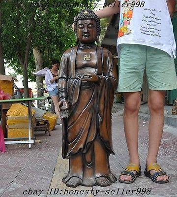 Huge Tibet fane pure purple copper silver Rulai Tathagata Swastika buddha statue
