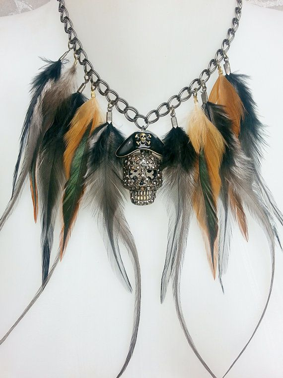 Long feather Fringe Necklace Choker in Gunmetal with pirate skull pendant  by MEDICINAdesigns, $129.99