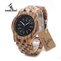 Bobo bird n12 деревянные часы мужские люксовый бренд зебры дерева группа кварцевые часы принять лазерный логотип индивидуальные dropshipping