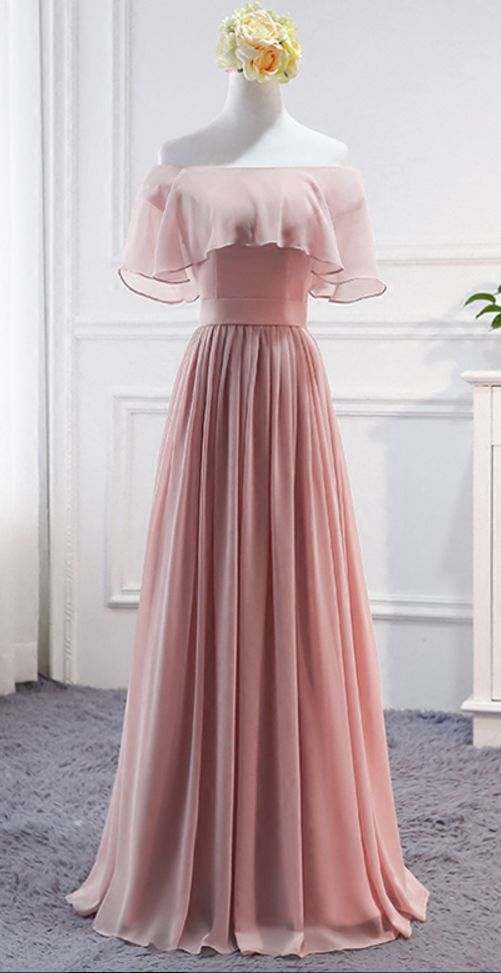 Pink Long Chiffon Wedding Party Dresses Cute Formal Dress Gowns