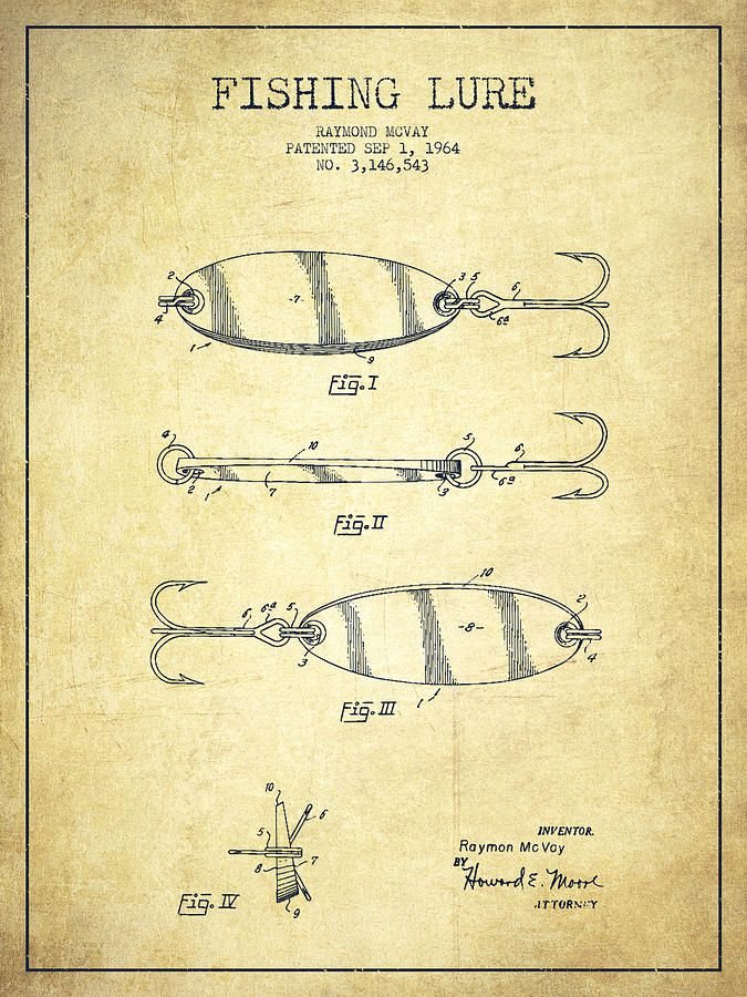 vintage+fishing+luresclip+art | Vintage Fishing Lure Patent Drawing From 1964 Drawing