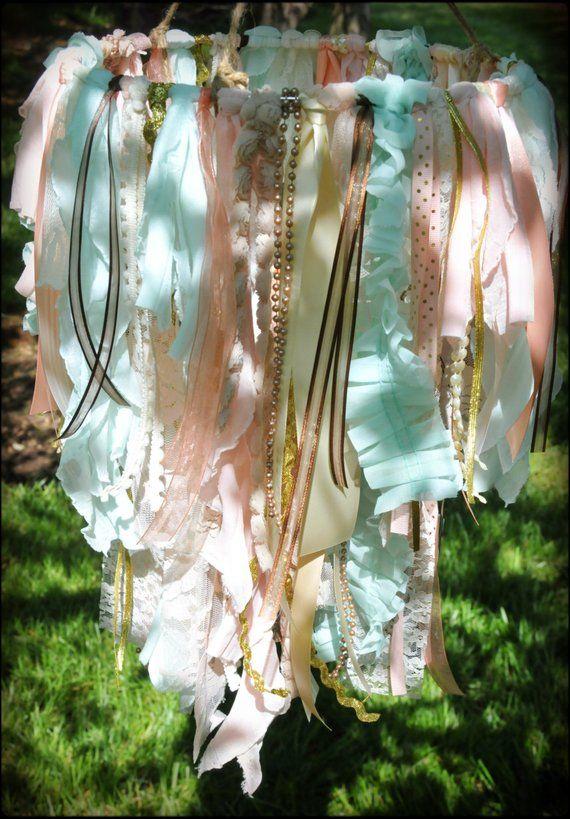 Shabby Chic Fabric Double Tier Chandelier, Lace and Ribbon Chandelier, Shabby Chic Nursery Decor, Fabric Ribbon Mobile, Rustic Wedding Decor – heidi carlisle