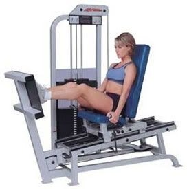 """Leg Press  Works: Quads, glutes  Think of the leg press as a """"do-it-all"""" machine for amazing legs. Bonus: it'll work your butt too!        Sit back and place your feet on the plate. Slowly push your legs out until your knees are just slightly bent-don't straighten them all the way. Then lower the weight, bringing knees back towards your chest — that's one rep. Do three sets of 8 to 10 reps.    http://www.hercampus.com/health/how-use-machines-gym-other-elliptical"""