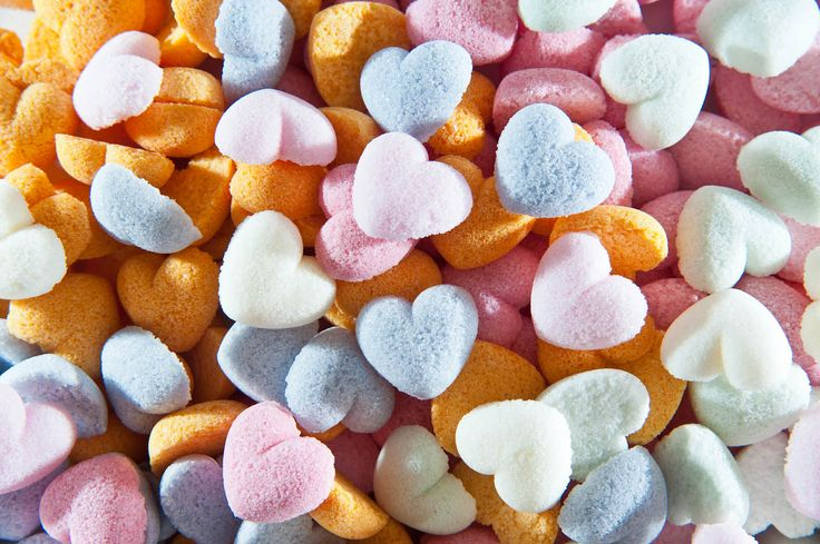 colorful sugar hearts