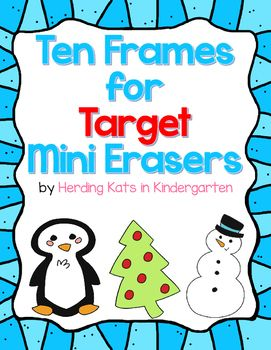 Your students can use Target mini erasers (or any other manipulative) to build numbers 0-20 on ten frames with this fun freebie. Just print out the mats and cards (laminate for durability) and place in a center with the erasers. Students choose a card, place it on their mat, then use the erasers to build the number on the ten frame.
