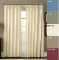 Standard Size & SHORTER Length Insulated Pinch Pleated Polyester Washable Drapes, Crosby style, one pair