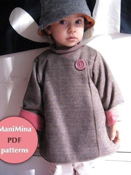 LOVE this lady's patterns!  I've made the Lilli Dress and the Chic Everyday dress, and they were GREAT! I think I buy this one next.  I don't  buy many patterns, but hers are special. Mademoiselle coat  PDF pattern  12m to 4T by ManiMina on Etsy, $6.00