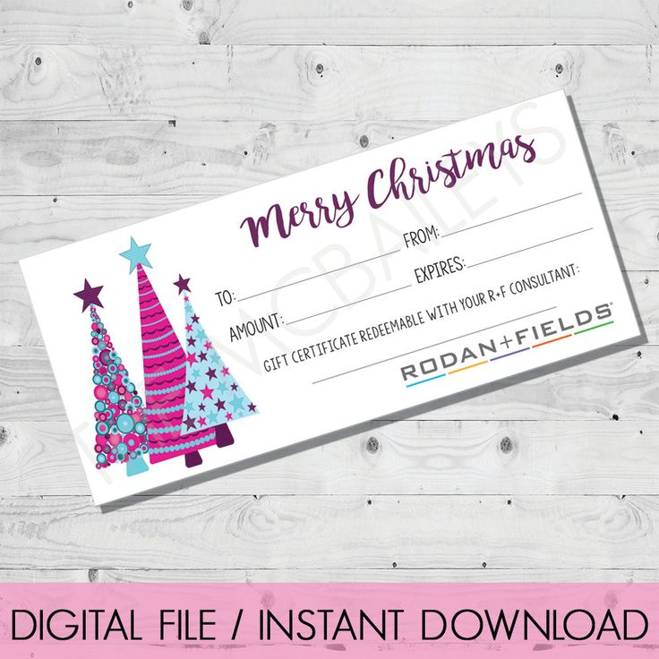 Rodan and Fields Holiday Christmas Gift Certificate | INSTANT DOWNLOAD | Christmas Trees by TheMcBaileys on Etsy
