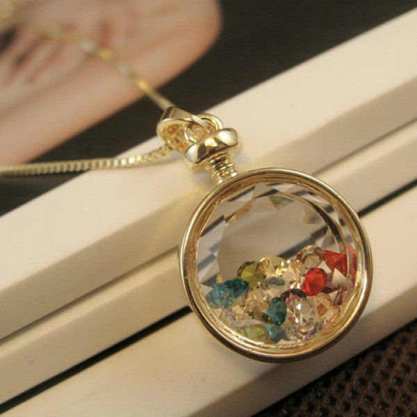 £4.29 Fashion Colored Faux Crystal Embellished Round Pendant Necklace For Women, COLOR ASSORTED in Necklaces | DressLily.com