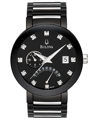 A handsome black timepiece with subtle sparkle from diamond accents, by Bulova…