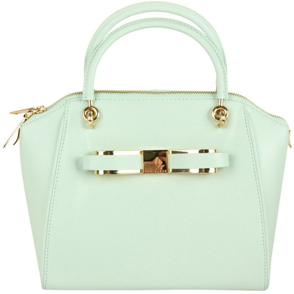 TED BAKER Womens Mint Metal Bow Mini Bowler Leather Bag ($230) ❤ liked on Polyvore featuring bags, handbags, purses, bolsos, accessories, leather purses, mint green purse, leather handbags, leather bowling bag and handbag purse