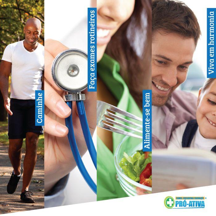 Legenda Caminhe + Faça exame regularmente + Alimente-se bem + Viva em harmonia <3 Dia Nacional de Mobilização pela Promoção da Saúde e Qualidade de Vida ;) O que é qualidade de vida para você? #ProAtiva #Saúde #SaúdeOcupacional #QualidadeDeVida