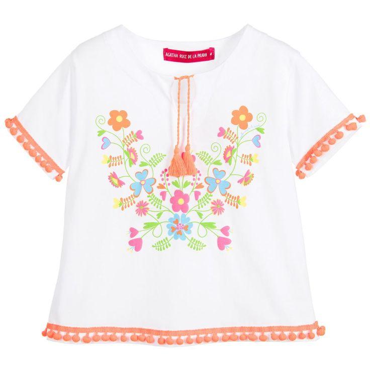 Agatha Ruiz de la Prada Girls White Flower Print T-Shirt  at Childrensalon.com
