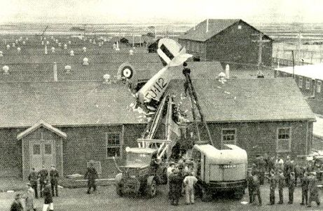 Here a Cessna Crane with two students aboard had an engine failure over the training base in Claresholm, Alberta. The aircraft dived straight into the barracks. Nine airmen were injured; mercifully, nobody was killed. This photo is taken from the excellent website managed by the Bomber Command Museum in Nanton, Alberta.