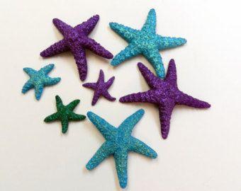 REAL Glitter starfish set The little mermaid under the sea birthday party / beach wedding table decor