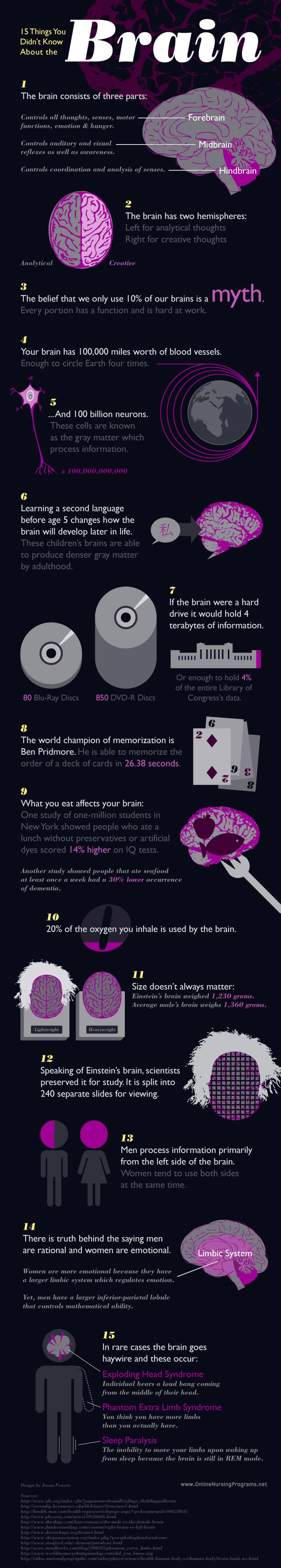 15 facts about the brain. The human brain is the most amazing and baffling organ of our body, as well as the source of many mysteries. Although the human brain makes only 2 percent of our body weight it has over 100,000 miles of blood vessels!  http://positivemed.com/2012/09/17/15-things-you-didnt-know-about-the-brain/#