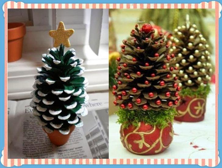 Κουκουνάρια μεταμορφώνονται σε χριστουγεννιάτικα δεντράκια