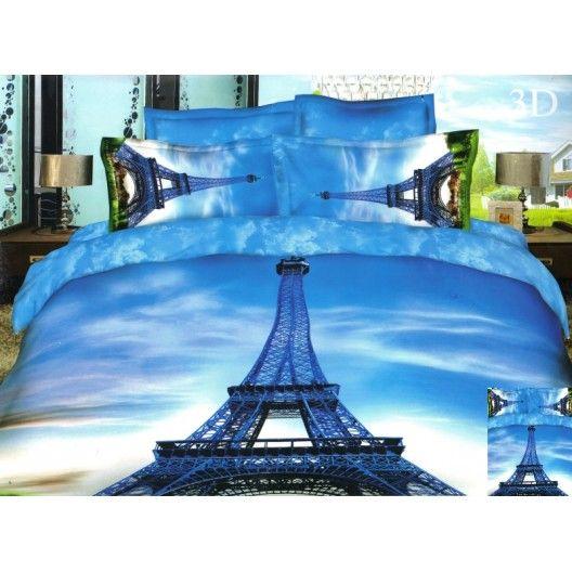 Modrá 3D obliečka na posteľ s Eiffelovou vežou