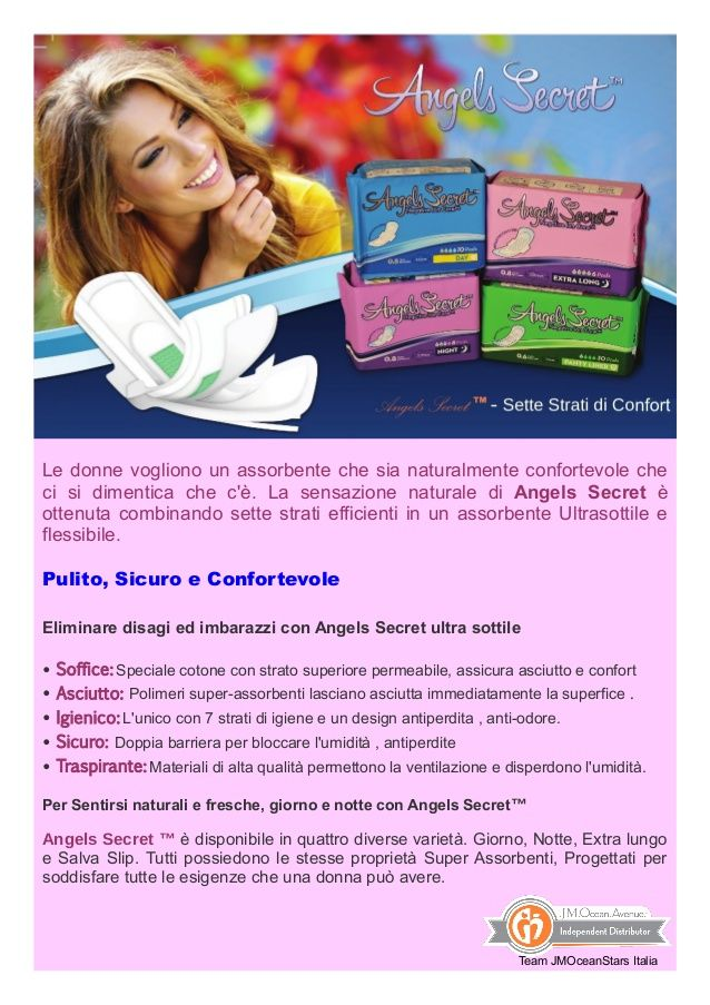Assorbenti Angels Secret - JM Ocean Avenue  by Viviana Schiavetta via slideshare