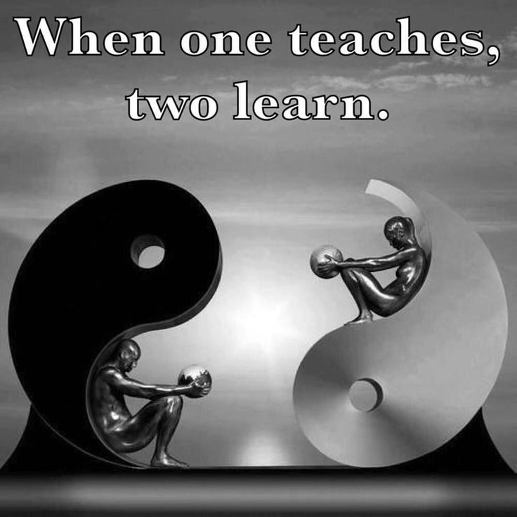 Yin Yang, balance. When one teaches, two learn.