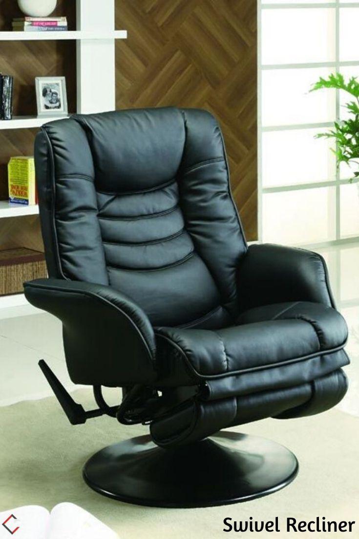 Coaster Furniture Black Swivel Cushion Back Chair ...
