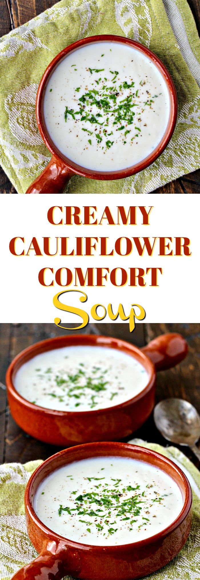 Looking for a lighter dish after the holidays? This vegan Creamy Cauliflower Comfort Soup is light and nutritious plus it's a cinch to make! @thenutribullet #BalanceBlend