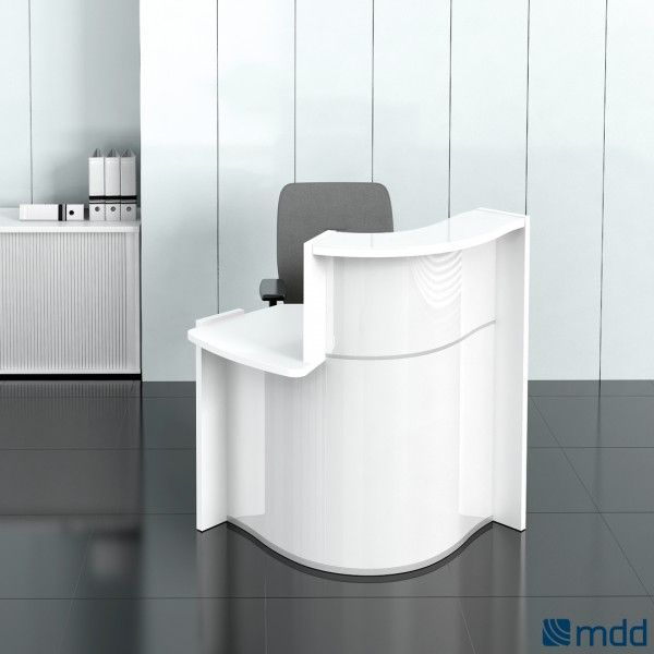 WAVE Small Reception Desk, Right-Handed Counter, High Gloss White by MDD Office Furniture | SohoMod.com