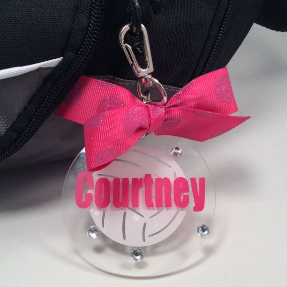 Volleyball Bag Tag in Pink Sparkle Dot by GemLights on Etsy, $6.00