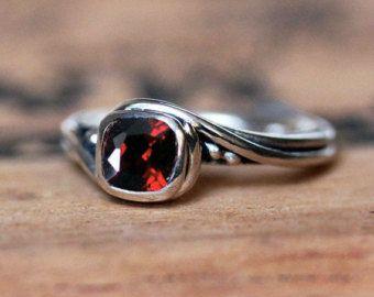 Mujeres de anillo anillo granate rojo, plata, anillo de piedra de enero para las mujeres, granate anillo remolino pirueta de joyería anillo granate, custom