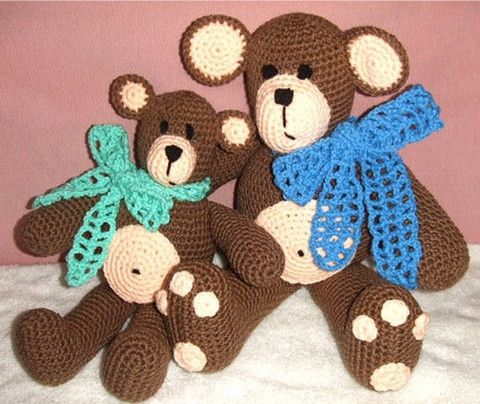 These two cuddly teddy bears will make anyone smile!!! They are very easy to make and will be great additions to any nursery or childs room. (Even those big children will love them). They have great b